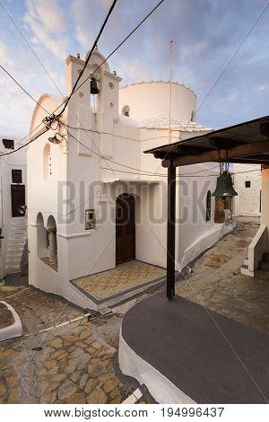 Streets of Chora village on Skyros island in Greece.