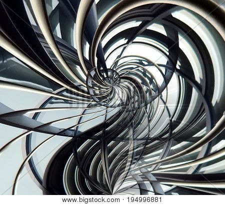 curved spiral metallic futuristic abstract with interlinking bars and joints
