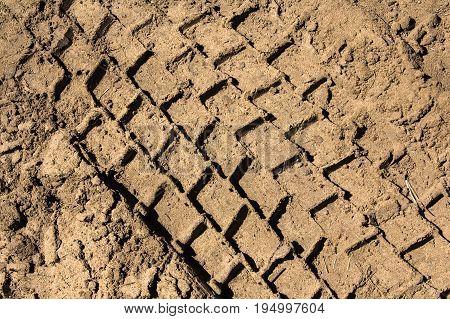 Heavy Trucks Tyre Tracks In Sandy Surface
