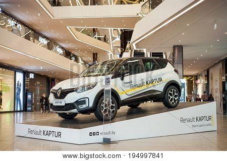 Minsk, Belarus, july 9, 2017: Renault Captur on the podium at the shopping center