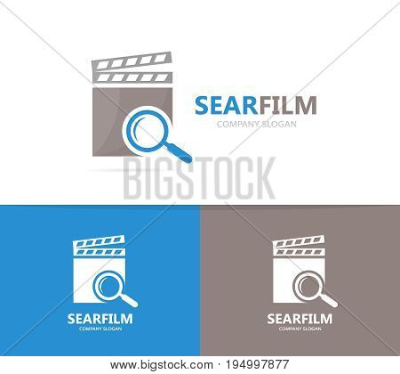 clapperboard and loupe logo combination. Cinema and magnifying glass symbol or icon. Unique video and search logotype design template.