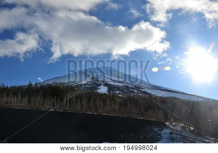 Fuji Mountain on the 4th floor see the road on the mountain. Blue sky whit cloud and sunlight