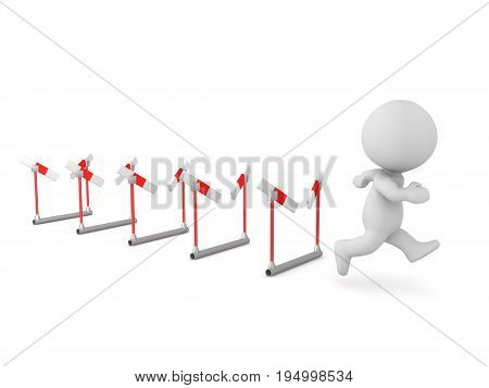 3D character running through many broken barriers. Isolated on white background.
