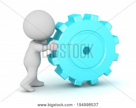 3D character pushing a large cog wheel. Isolated on white background.