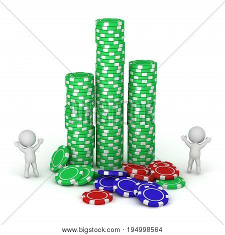 3D characters and stacks of poker chips. Isolated on white background.