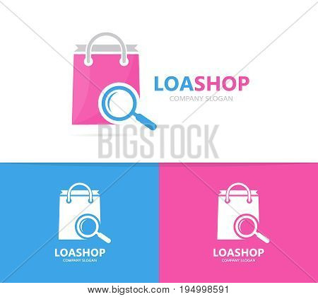 shop and loupe logo combination. Sale and magnifying glass symbol or icon. Unique bag and search logotype design template.