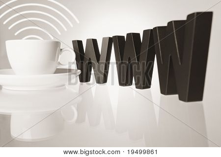 Internet cafe concept: Coffee cup with WiFi waves next to three wooden W alphabetic letters with reflection isolated on white background.