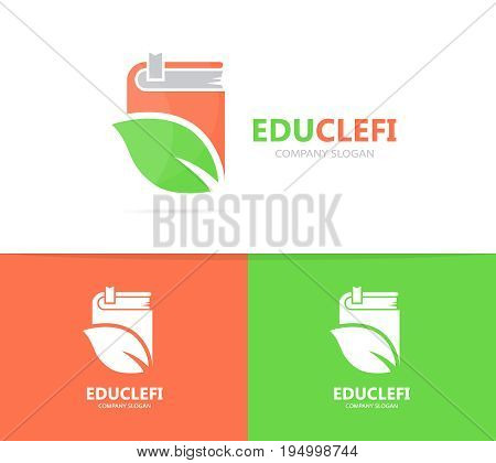 book and leaf logo combination. Library and eco symbol or icon. Unique organic and bookstore logotype design template.