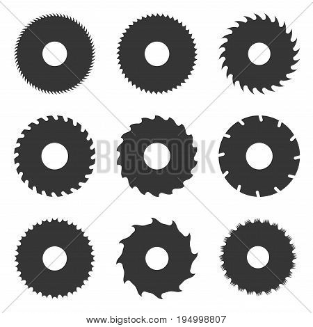 Circular Saw Blades Set on White Background. Vector illustration