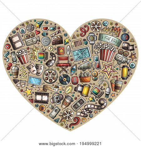 Colorful vector hand drawn set of Cinema cartoon doodle objects, symbols and items. Heart form composition