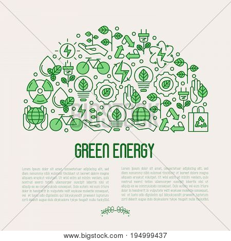 Ecology concept with thin line icons for environmental, recycling, renewable energy, nature. Vector illustration.