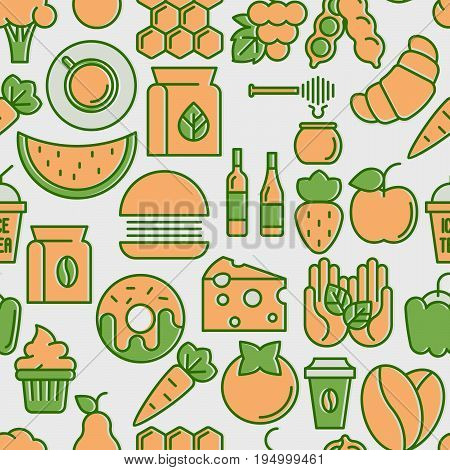 Farmer's market seamless pattern with thin line icons: fruits, coffee, tea, honey, food, olive oil. Vector illustration for background.
