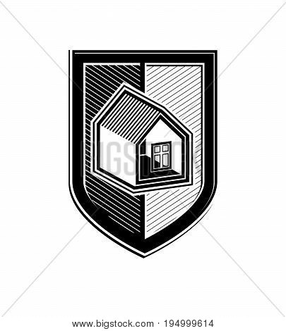 Safety idea abstract heraldic vector symbol with classic house. Real estate brand design element conceptual coat of arms.