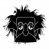 Isolated silhouette of an Einstein character Vector illustration poster