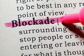Fake Dictionary Dictionary definition of the word blockade. including key descriptive words. poster