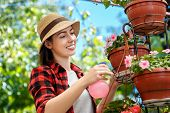 portrait of happy young woman gardener spraying water on plants. Girl with sprayer bottle spraying pesticide on her flowers. People, gardening, care of flowers, hobby concept poster