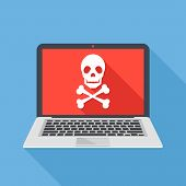 Laptop with skull and crossbones. Notebook and skull icon. Virus attack, ransomware, malicious software, hacker attack, spyware concepts. Long shadow design. Modern flat design vector illustration poster
