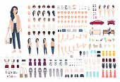 Young lady character constructor. Trendy girl creation set. Different woman postures, hairstyle, face, legs, hands, clothes, accessories collection. Vector cartoon illustration. Front side back view poster
