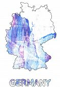 Hand-drawn abstract watercolor. Germany map outline. Used colors: White Azureish white Lavender blue Baby powder Diamond Maximum Blue Purple Lotion Pale cornflower blue Vista blue. poster