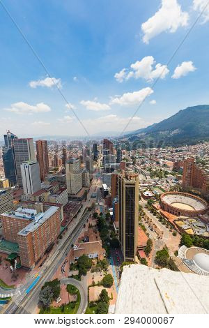 Bogota,  Colombia   March 25 Bogota Aerial View On Santa Fe District Located In The North Of The Cit