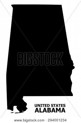 Vector Map Of Alabama State With Title. Map Of Alabama State Is Isolated On A White Background. Simp