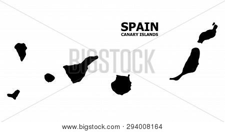Vector Map Of Canary Islands With Caption. Map Of Canary Islands Is Isolated On A White Background.