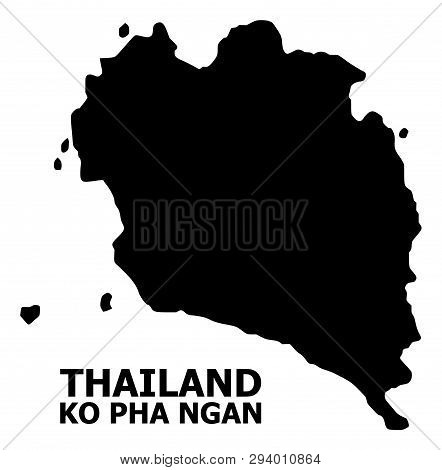 Vector Map Of Ko Pha Ngan With Name. Map Of Ko Pha Ngan Is Isolated On A White Background. Simple Fl