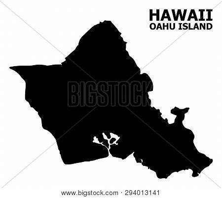 Vector Map Of Oahu Island With Title. Map Of Oahu Island Is Isolated On A White Background. Simple F