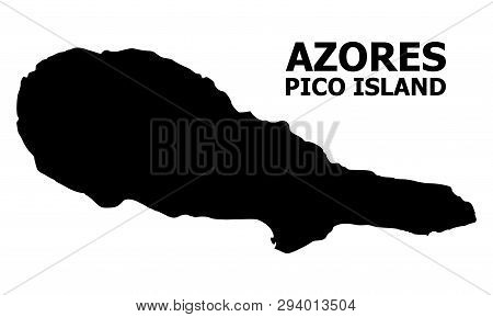 Vector Map Of Pico Island With Caption. Map Of Pico Island Is Isolated On A White Background. Simple