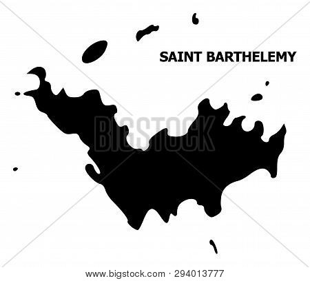 Vector Map Of Saint Barthelemy With Title. Map Of Saint Barthelemy Is Isolated On A White Background