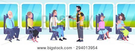 Inspector Man Selling Tickets To Passengers Sitting In Train Compartment During Vacation Trip Ticket