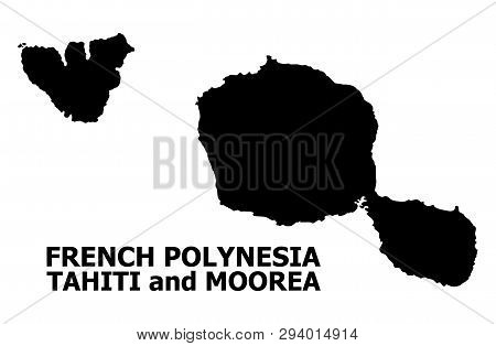 Vector Map Of Tahiti And Moorea Islands With Title. Map Of Tahiti And Moorea Islands Is Isolated On