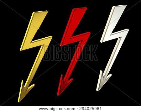 Sign High Voltage 3d Rendering. Warning Sign Sign Of Attention. Electrician. Voltage Sign Isolate On