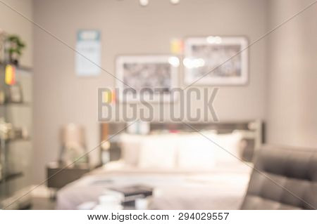 Defocus Background Of Bedroom Interior. Blur Image