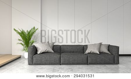 Clean Room With Sofa In Front Of Simple Clean White Wall With Decorative Items Empty Room,open Door,