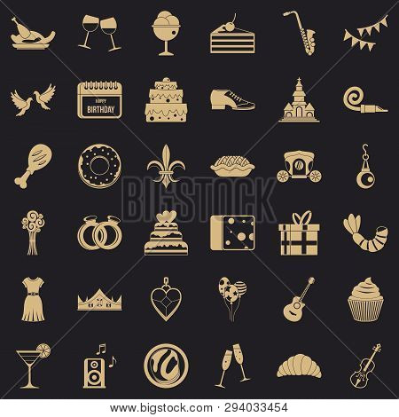 Great Banquet Icons Set. Simple Style Of 36 Great Banquet Vector Icons For Web For Any Design