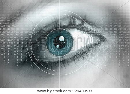 Eye Close-up With Technology Background