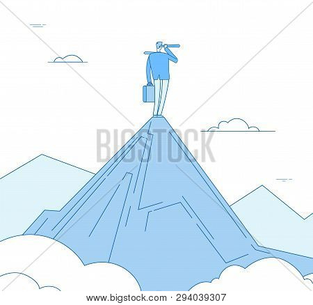 Vision Concept. Businessman Standing On Mountain Peak Looking With Spyglass. Motivation Successful F