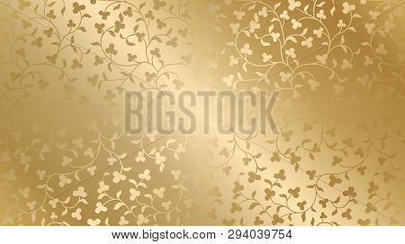 Seamless Vector Golden Texture Floral Pattern. Luxury Repeating Damask Background. Premium Wrapping