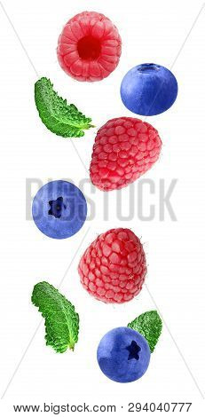 Falling Fresh Berries Isolated On White Background