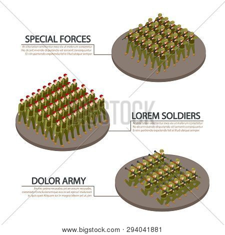 Army, Military, Soldiers Isometric Info Banners Vector Design. Illustration Of Military Infantry, Ar