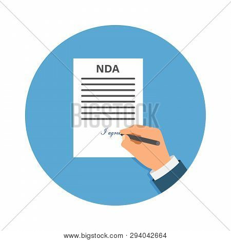 Colored Cartooned Hand Signing Nda. Contract Signed Document. Nda Concept. Secret Files. Stock Vecto