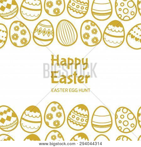 Happy Easter Egghunt Vector Banner Template With Text. Illustration Of Happy Easter, Egghunt Card