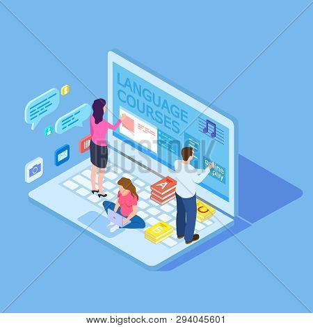 People Choice Language Courses - Online Education Isometric Vector Concept. Illustration Of Educatio
