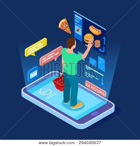 Online Food Store, Man Buys Food Online Isometric Vector Concept. Illustration Of Food Store Online,
