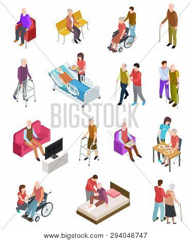 Elderly People Isometric. Senior Persons, Helper Nurse. Seniors Medical Home Therapy. People In Whee