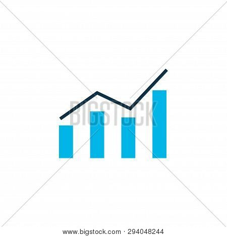 Bar Graph Icon Colored Symbol. Premium Quality Isolated Line Chart Element In Trendy Style.