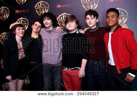 LAS VEGAS - APR 2:  Sophia Lillis, Jaeden Martell, Finn Wolfhard, Jeremy Ray Taylor, Wyatt Oleff, Chosen Jacobs at the 2019 CinemaCon at Caesars Palace on April 2, 2019 in Las Vegas, NV