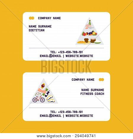 Dietitian, Fitness Coach Set Of Business Cards Vector Illustration. Obesity Cincept. Healthy Diet Nu