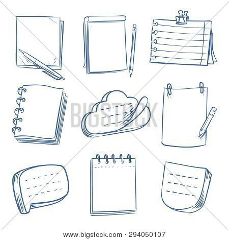 Doodle Note. Sketch Notebook, Memo Paper, Various Document. Hand Drawn Notepads Vector Set. Illustra